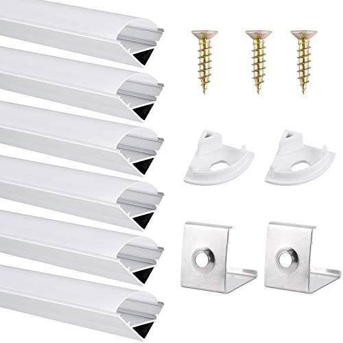 DazSpirit Profil LED 45°, 6er-Pack 1M V-Form LED Aluminium Profil mit Weiß Milchige Abdeckung, Endkappen, und Montageklammer für LED-Streifen, Leisten (LED Strips/Band bis 12,2 mm inkl.)