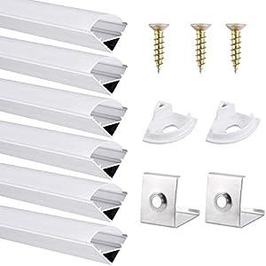 Perfil de Aluminio, DazSpirit 6 Pack 1M/3,3ft V Forma, Cubierta de difusor blanco lechoso, Los Casquillos de Extremo y los Clips de Montaje del Metal-Plata (Tiras de LED/cinta de hasta 12,2 mm incl.)