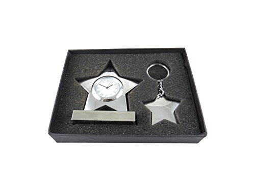 Star Shaped Table Clock and Key-Chain Combo