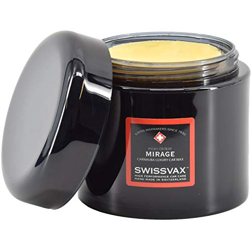 SWISSVAX Mirage Autowachs 40{8a36eb583952c7f47b9f5036be3776d2b7ddeb201b7a2cb851da1c1c235a03d0} Vol. Carnauba Wachsversiegelung - Premium Hartwachs mit besten Abperleffekt für hochglänzendes Lack Finish, 200 ml
