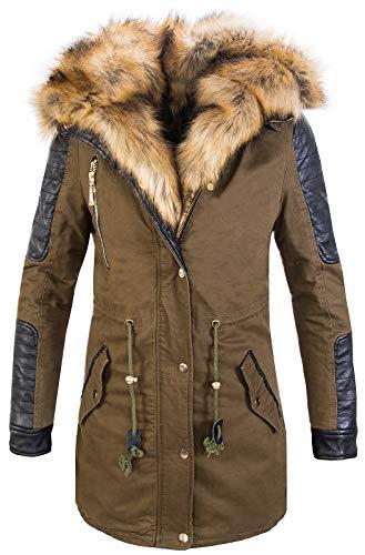 Rock Creek Designer Damen Winter Jacke Mantel Parka Bikerjacke Outdoor Jacke Wintermantel Kunstfell Futter Wattiert Warm CL-817 Dunkelgrün M