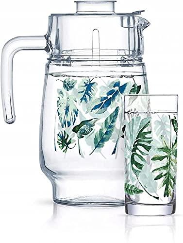 Luminarc Juego de bebidas, jarra de cristal de 1,6 l, con 6 vasos altos transparentes, 270 ml, lámina tropical