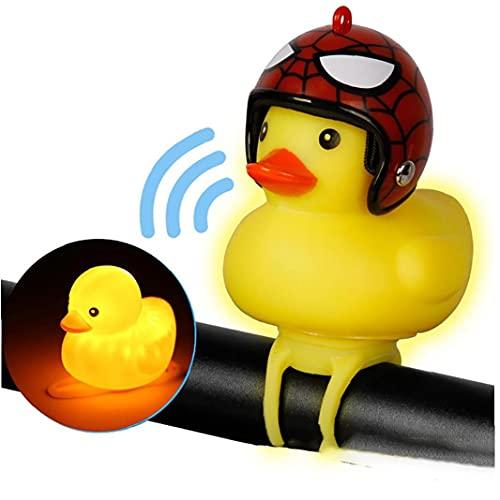 1pc Mignon éclairage vélo Cloche à vélo Lumières Rubber Duck Accessoires Vélo Jouets Enfants Pincez Horns pour Adultes Tout-Petits Enfants (Spiderman)