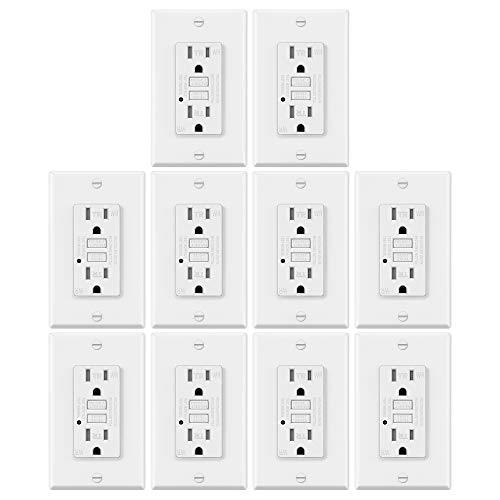 10 Pack - ELECTECK Weather Resistant GFCI Outlet, Ground Fault Circuit Interrupter with LED Indicator, 15-Amp Tamper Resistant Receptacle, Decorator Wall Plate Included, ETL Certified, White