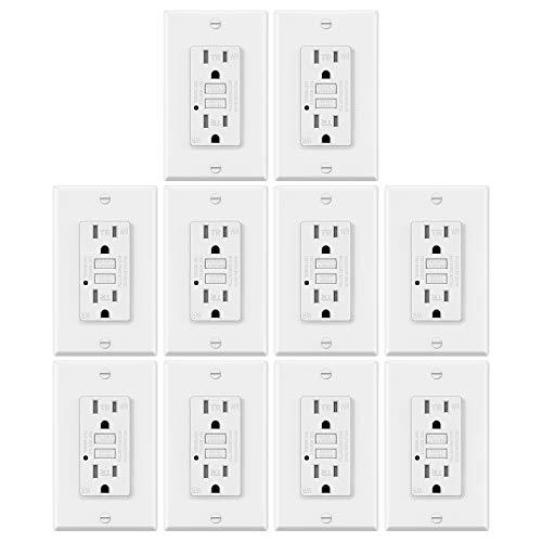 10 Stück – elektrisch wetterfeste GFCI-Steckdose, Erdungsstörer mit LED-Anzeige, 15 Amp manipulationssichere Hülle, Dekorator-Wandplatte, ETL-zertifiziert, Weiß