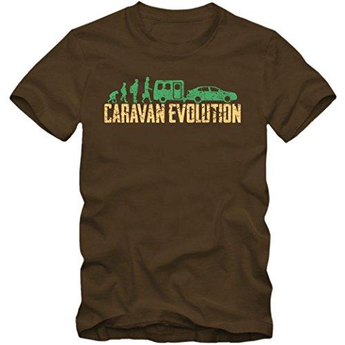 Evolution Caravan T-Shirt Camping Reisen Urlaub Herren Shirt, Farbe:Braun (Chocolate L190);Größe:M