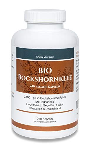 EXVital Bio Bockshornklee, 240 vegane Kapseln, 2400 mg Bio Bockshornklee (Fenugreek) Pulver pro Tagesdosis