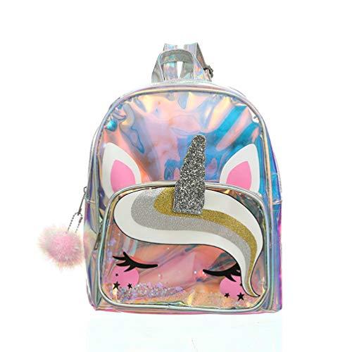 VALICLUD Zaino Mini Unicorno Zaino da Viaggio Olografico Trasparente Zaino Casual Impermeabile Glitterato per Bambini Ragazze Donne