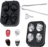 Herda 3D Skull Ice Mold - Flexible Skull Silicone Ice Cube Tray Kit + Ice Tong + Funnel DIY Shape Maker for Cocktail, Whiskey, Drinks Cake Baking , Chocolate Candy, Creative Resin Skull Mold Fun Gifts