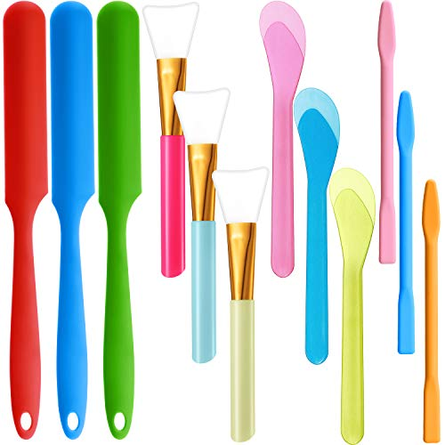 12 Pieces Silicone Stir Sticks Kit, Silicone Epoxy Brush Resin Applicator Brush Silicone Stirring Tool Mixing Spoon Silicone Scraper DIY Crafts Tool for Liquid Paint Glitter Tumblers (Candy Color)