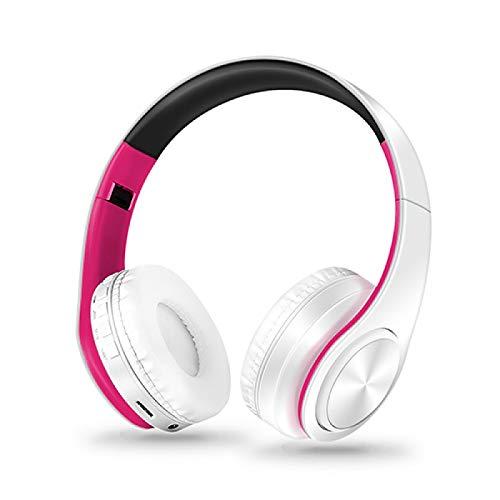 Auricular Bluetooth auriculares inalámbricos estéreo plegables auriculares deportivos micrófono manos libres reproductor de MP3 WhiteRose
