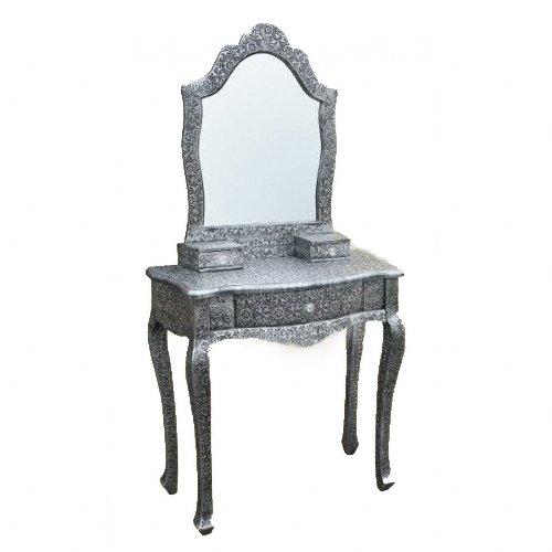 Chaandi Kar Coiffeuse avec miroir Noir/argenté
