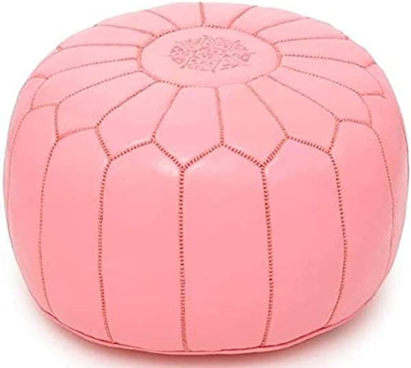 Light Pink Premium Handmade Moroccan Leather Pouf Ottoman Footstool Hassock 100 Real Natural Leather Pouffe Ready To Magic Your Living Room