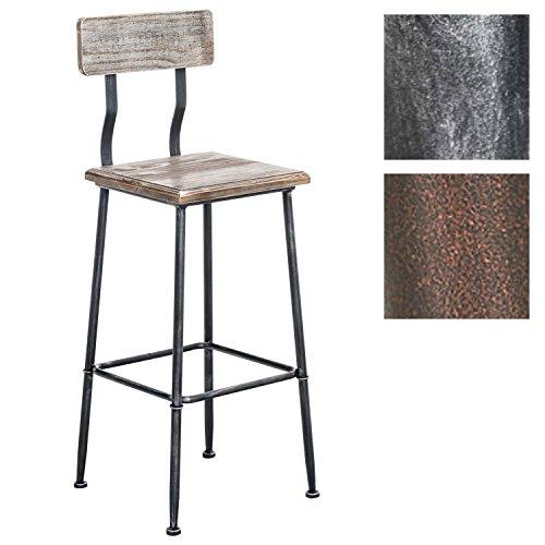 Tabouret de bar QUEENS avec un dossier, style industriel, 4 pieds, chaise haute en bois et métal, hauteur de l'assise en. 75 cm, Couleurs:antique argent