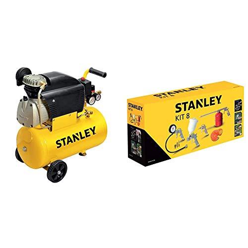 Stanley D211/8/24 Compressore 24 Litri 2Hp, Giallo, 24 Kg & Set Accessori Aria Compressa Kit 8 Pneumatic Stanley