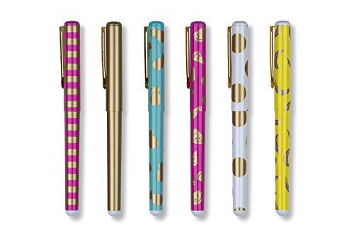 Tri-Coastal Design - Set di 6 Penne a Sfera ad Inchiostro Nero - Decorate con Stampe con Accenti Dorati in Metallo - Confezione Regalo con una Scatola Decorata (aloha)