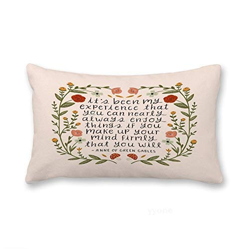 Sweet grape Lumbar Accent Pillow Cover Anne of Green Gables Enjoy Things Quote Decorative Long Oblong Thow Pillow Case Cushion Cover Pillowcase 12x20 Inches