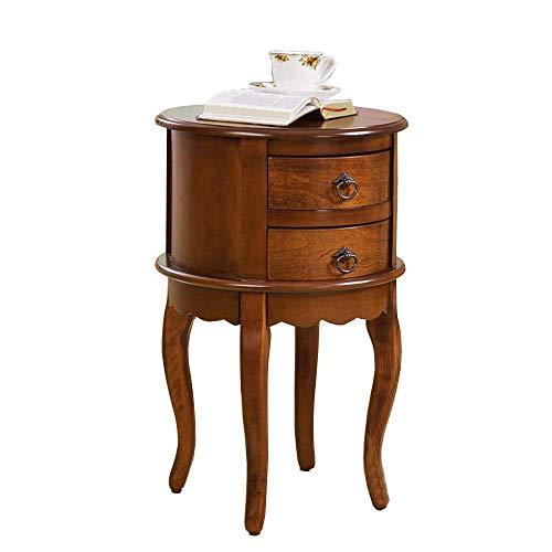 Home&Selected meubels/massief houten tafel rond in Amerikaanse stijl met 2 laden Living Room Sofa Side Tafel Magazine bed nachtkastje Corner tafel (kleur 01)