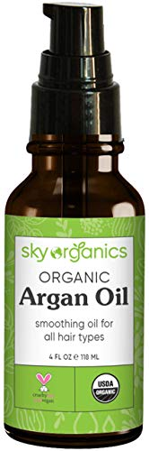 Moroccan Argan Oil (118 ml) by Sky Organics 100% Pure Cold-pressed Organic Argan Oil from Morocco Moisturizing & Smoothing Hair Oil for All Hair Types Argan Oil Hair Mask for Shine Frizz and DIY