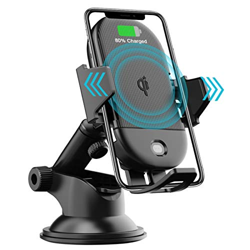 LETSCOM Wireless Car Charger Auto-Clamping,15W Qi Fast Charging Car Charger Mount, Windshield Dashboard Air Vent Phone Holder for iPhone 11Pro/Max/XR/11/X/8, Samsung S10/S10+/S9/S9+/S8/S8+