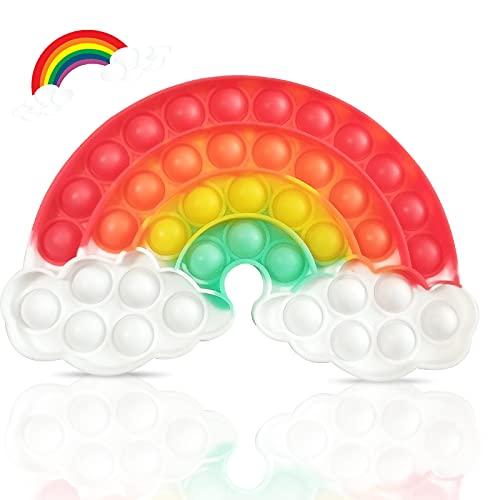 Bubble Fidget Toy Sensorial Alivio del estrés para necesidades especiales de Autismo   Juguetes para Aliviar la ansiedad extrusión para adultos y niños (nubes arcoíris)