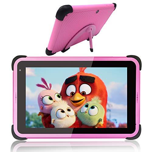 Tablets para niños 7 pulgadas IPS HD Display Quad-Core Android 10 WIFI Tablet PC para niñas, tabletas de aprendizaje con ROM de 32 GB con soporte de estuche a prueba de niños para niños pequeños, rosa