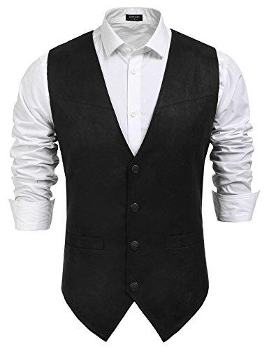 COOFANDY Men's Suede Leather Suit Vest Casual Western Vest Jacket Slim Fit Vest Waistcoat (X_Large, 7180_Black)