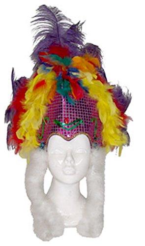 Zauberclown - Disfraz de samba de plumas para disfraz de carnaval brasileño, gorro para adultos, multicolor