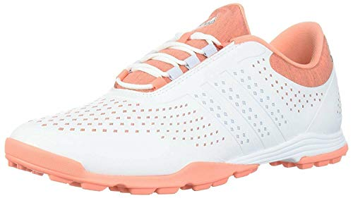 adidas Women's Adipure Sport Golf Shoe, Core Black/Real Coral, 5 Medium US