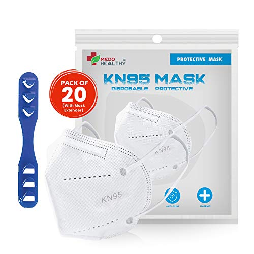 Medohealthy KN95 Mask (Pack of 20), Equivalent to N95 Mask, FDA and CE Approved, Super Breathable Face Mask (Non Woven Fabric, White Colour)(With Head Mask Extender)