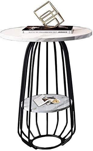 Nest Of Tables Mesa de centro blanca Mesas auxiliares Mesa para portátil Mesa lateral Mármol 2 niveles Sofá de sala de estar Café con marco de metal Hierro forjado Extremo redondo Dormitorio Mesita d