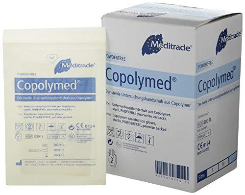 Meditrade 8091L Copolyme Sterile Untersuchungshandschuh paarweise Verpackt, Steril, Puderfrei, Größe Large (100-er pack)