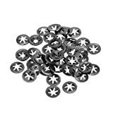 uxcell M4 Starlock Washer 3.5mm I.D. 12mm O.D. Internal Tooth Lock Washers Push-On Locking Speed Clip 65Mn Black Oxide Finish 50pcs