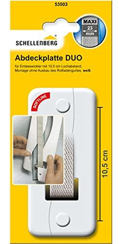 Schellenberg 53503 Abdeckplatte DUO Lochabstand 10,5 cm für Unterputz Gurtwickler, System Maxi: 23 mm Gurtbreite, einfache Montage ohne Ausbau des Rolladen-Gurtbandes
