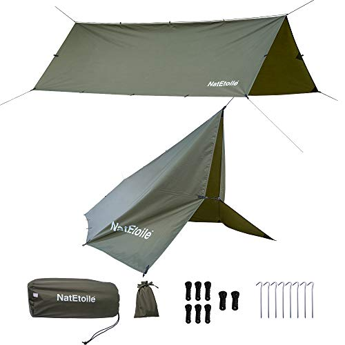 Camping Tarp Hammock Rain Fly 13x10ft Waterproof Camping Tent Tarp Shelter, Footprint for Under Tent, Backpacking, Camping, Hiking, Hunting, Outdoors Adventures