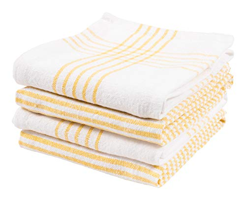 KAF Home Set of 4 Monaco Relaxed Casual Slubbed Kitchen Towel | 100% Cotton Dish Towel, 18 x 28 Inches | Soft and Absorbent Farmhouse Kitchen Towel | Set of 4 (Yellow)