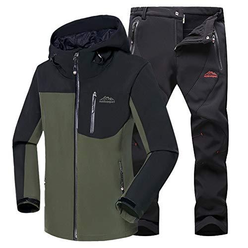 JIANYE Chaqueta Softshell Hombre Pantalon Softshell Conjunto Outdoor Transpirables Chaqueta Montaña Pantalones Montaña Ejército Verde+Negro S