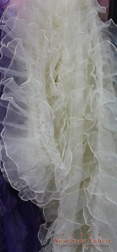 Ivory Organza Ruffle Mesh Fabric 56 inches / 58 inches Width Sold by The Yard Bridal Gown