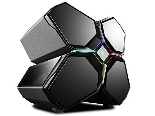 Deepcool QUADSTELLAR - Carcasa para PC Gaming Full Tower, Sistema de iluminación RGB, Slide Frontal, Paneles magnéticos de Cristal Templado, 5 Ventiladores incluidos, Color Negro