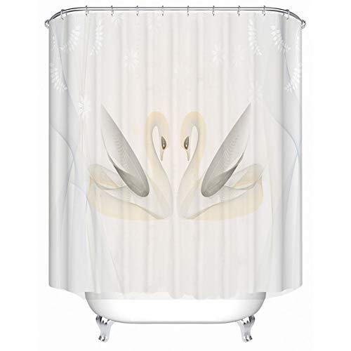 KGKBH Duschvorhänge Badezimmer Polyester Duschvorhang Schwan Duschvorhang Duschvorhang 182,9 x 182,9 cm, 180 x 180 cm, 72X72in(180X180CM)