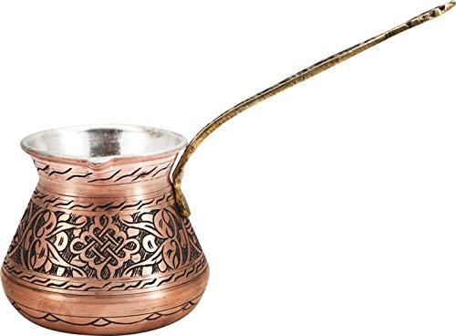 Handcraftideas0 Hand Made Engraved Sturdy Copper Turkish Greek Arabic Armenian Coffee Pot - Stovetop Coffee Maker Cezve Ibrik Briki with Brass Handle -19 fl. Oz(550ml)- (CP-101)