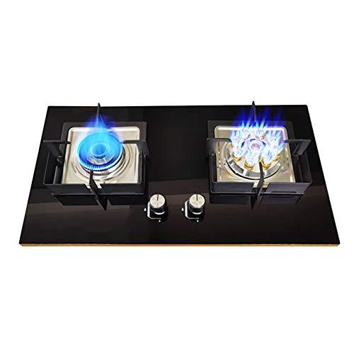 ZHANGZHIYUA Estufas De Gas Cocina Cocina con 2 Quemadores Gas Natural/Gas Licuado Vitrocerámica De Gas Incorporada, con Dispositivo De Protección De Termopar/Encendido Electrónico por Pulsos,B