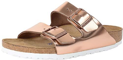 Birkenstock Arizona Unisex Leather Sandal, White Copper Sfb Leather, 7-7.5