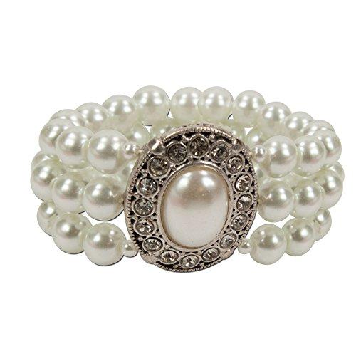 Alpenflüstern Perlen-Trachten-Armband Sissi - Damen-Trachtenschmuck, elastische Trachten-Armkette, Perlenarmband mehrreihig Creme-weiß DAB033