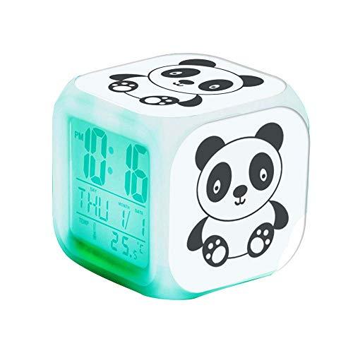 QCNZ1 Teen Alarm Clock Kids Girls Boys LED Digital Bedrooms Alarm Clock Easy Set Clocks with Pattern 218.Cute Panda Alarm Clock Desk Bedrooms Decor