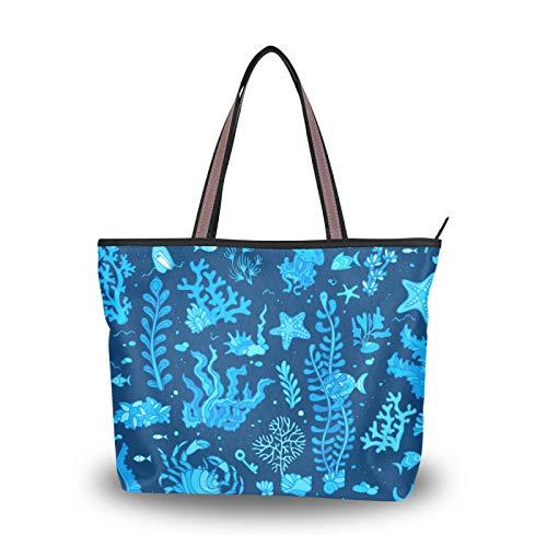 Bolsos de hombro Bolsos para mujeres, niñas, señoras, estudiantes, peso ligero, correa, bolso de mano, bolso de compras, verano, concha, algas, pez, estrella de mar, azul