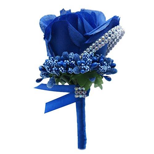 Boutonnieres Rose Brooch Wedding Corsages Bracelet Bridesmaids White Groom Flower Boutonniere Ceremony Flowers (Color : Blue)