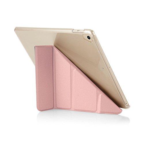 iPad 9.7 (2017) Hülle, Pipetto 5 in 1 Faltende Klar Zurück Schutzhülle mit Auto Aufwachen / Schlaf Funktion für Apple iPad 9.7 (2017) - Roségold und Klar