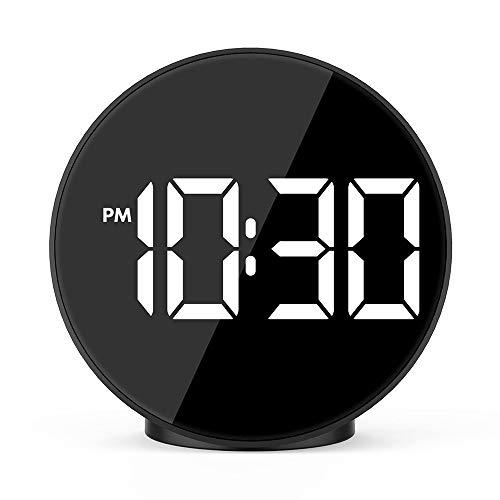 Kleine wekker bij het bed creatieve spiegel LED speciale functie elektronische horloge met een elektronische stem alarm temperatuur: Glow, spiegel, alarm, verlichting, decoratief, thermometer, 24-uurs