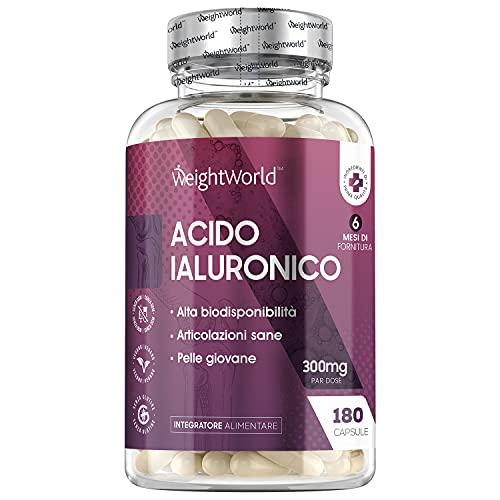 Acido Ialuronico Puro Extra Forte 300mg - 180 Capsule Vegan (Fornitura di 6 Mesi) - Acido Ialuronico Integratore per Uomo & Donna - Alta Biodisponibilità - Acido Ialuronico compresse Senza Glutine